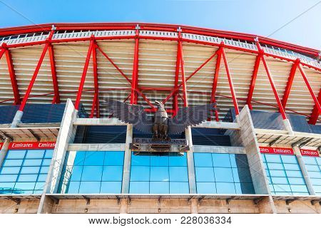 Lisbon , Portugal - February 10:  Eagle Sculpture At The Entrance Of Benfica Stadium (estadio Da Luz