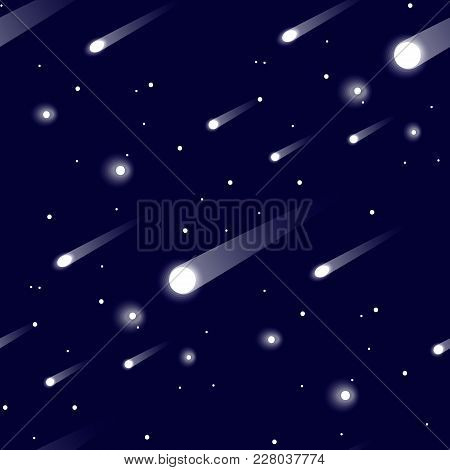 Seamless Vector Pattern With Realistic Falling Meteorites. Falling Stars. Meteor Rain. 10 Eps
