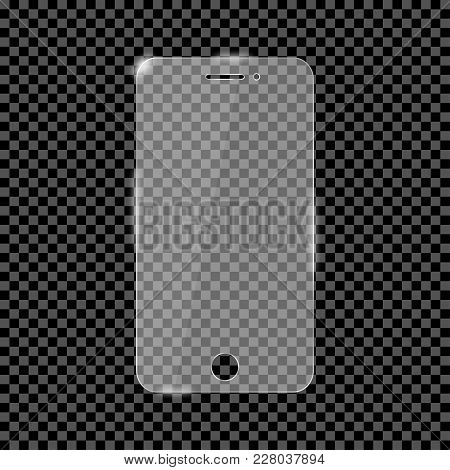 Glass Screen Protector For Smartphone. Glass Cover For Mobile Phone Monitor. Vector Illustration.