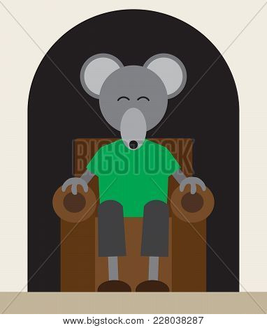 A Mouse In A Green Shirt Is Relaxing In An Easy Chair In His Hole In The Wall