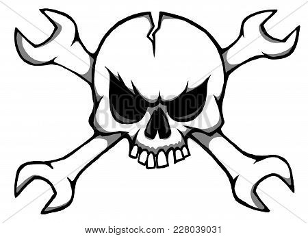 Funny Skull And Crossed Wrenches - Illustration
