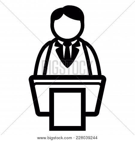 Businessman On Podium Icon. Vector Illustration Design