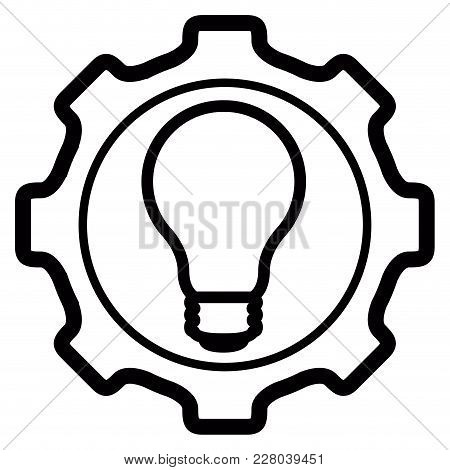 Gear Piece With Lightbulb Icon. Idea Concept. Vector Illustration Design