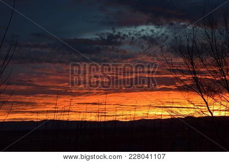 Majestic Sunset Over Southwestern Deserts Of Idaho