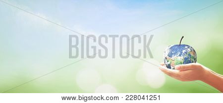 World Food Day Concept: Human Hans Holding Apple Fruit Of Earth Globe On Green Grass And Blue Sky Ba