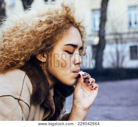 Young Pretty Girl Teenage Outside Smoking Cigarette Closeup, Looking Like Real Junky, Social Issues
