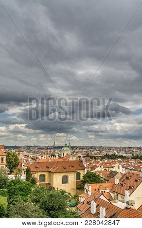 View Of Prague Old Town On A Stormy Day