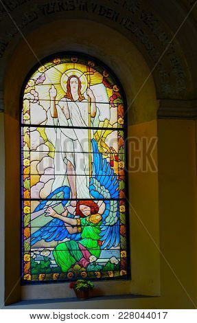 Prague Czech Republic - August 31, 2017; Stained Glass Religious Window In Basilica Of St Peter And