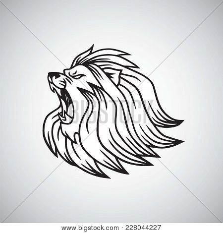 Angry Lion Head Roaring Logo Mascot Design Vector Illustration Template