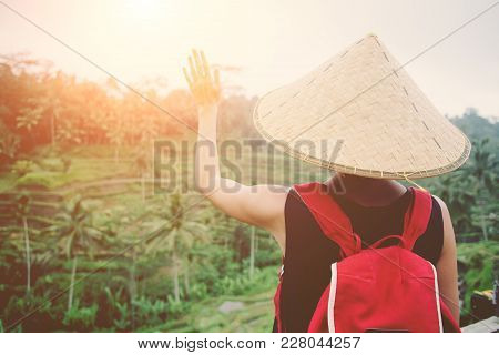 Young Lady With Traditional Asian Hat And Backpack Looking At Rice Field, Intentional Sun Glare And