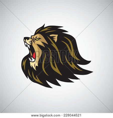 Mad Lion Head Roaring Mascot  Logo Template Illustration