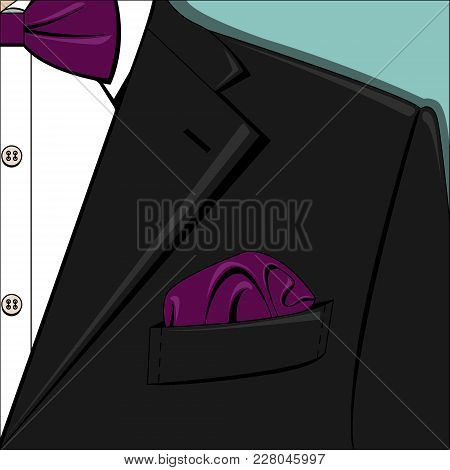 Vector Illustration Of Black Man Suit With Purple Bow-tie And Pocket Square, White Shirt On The Blue