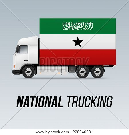 Symbol Of National Delivery Truck With Flag Of Somaliland. National Trucking Icon And Flag Colors