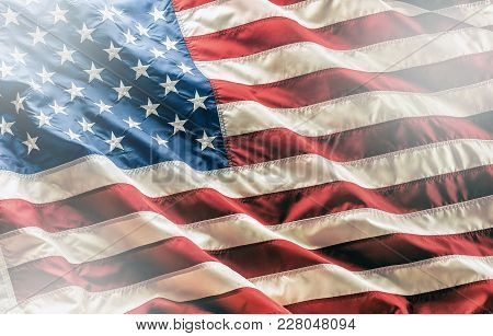 Usa Flag. American Flag. American Flag Blowing In The Wind