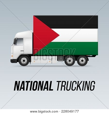 Symbol Of National Delivery Truck With Flag Of Palestine. National Trucking Icon And Palestinian Fla