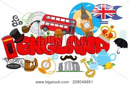 London, England Travel Destination Concept, Elements For Traveling To England