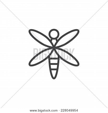 Dragonfly Outline Icon. Linear Style Sign For Mobile Concept And Web Design. Flying Adder Simple Lin