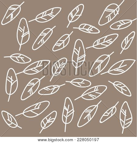 Vector Feather Background, Retro Pattern, Ethnic Doodle Collection, Tribal Design. Illustration With