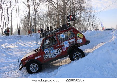 Saltac-korem, Russia-february 11, 2018: Winter Auto Show Jeeps - Ice Kneading 2018..driving Modified