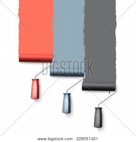 Paint Roller Brush. Colorful Paint Texture When Painting With A Roller. Three Rollers Paint The Wall