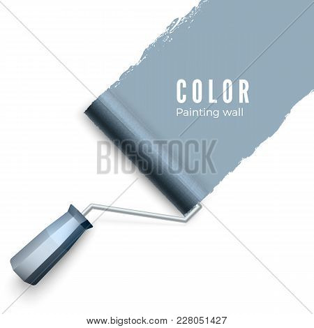 Painted Wall And Paint Roller. Paint Roller Brush. Color Paint Texture When Painting With A Roller.