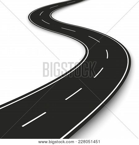Wavy Road Strip. Highway Strip Template Design For Infographic And Banner. Vector Illustration