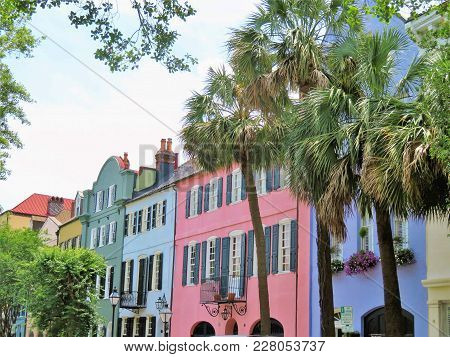 Charleston, South Carolina, May 4, 2017, Southern Style Homes In The Historic District Of Charleston