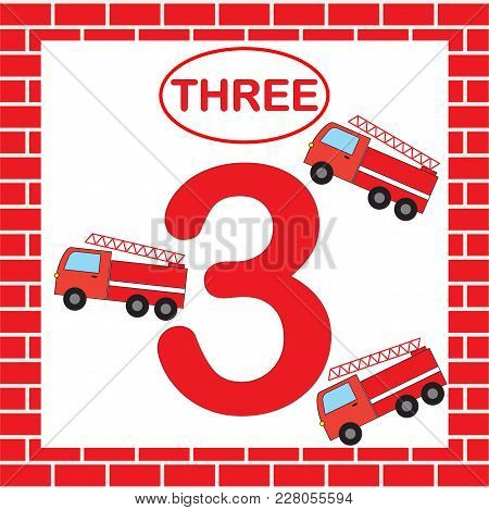 Activity For Preschool Children. Educational Card With Number 3 (three) With Fire Escape. Learning N