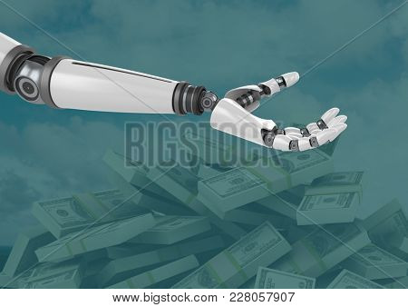 Digital composite of Android Robot hand open with green background