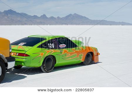 WENDOVER, UT - AUGUST 13: A 1979 Chevy Monza gets a push start on the Bonneville Salt Flats during Bonneville Speed Week  on August 13, 2011 near Wendover, UT.