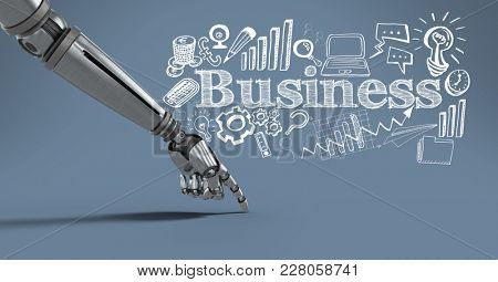 Digital composite of Android hand pointing with business drawings graphics and text