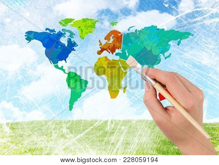 Digital composite of Hand painting Colorful Map with bright sky background