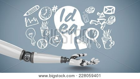 Digital composite of Android hand open with idea graphics drawings