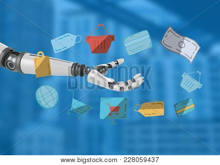 Digital composite of Android hand open with e-commerce drawings graphics