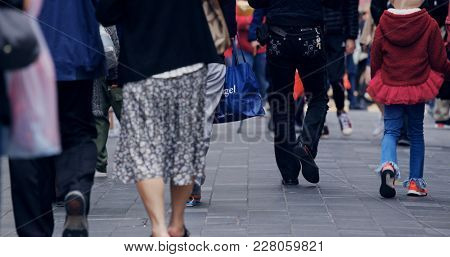Causeway Bay, Hong Kong, 14 February 2018:- People walking in the street
