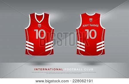 Basketball T-shirt Design Uniform Set Of  Kit. Basketball Jersey Template. Red And White Color, Fron