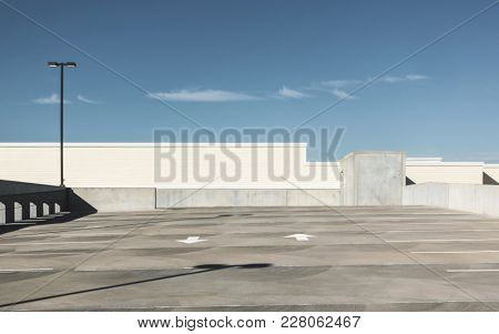 Empty rooftop parking lot