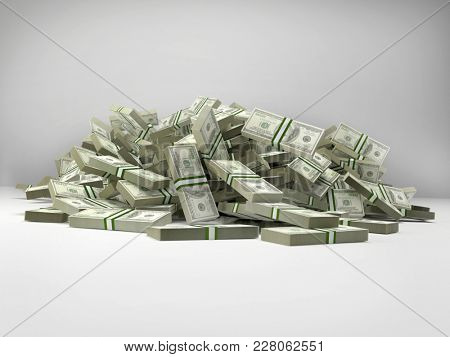 Pile of 100 dollar bill wads on white