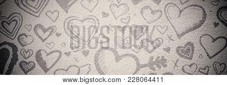 Digital composite image of hearts symbol on beige background