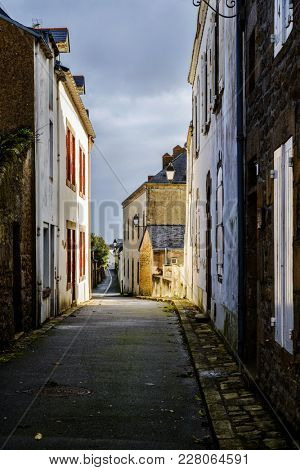 Small street in Batz-sur-Mer, France