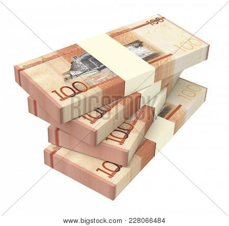 Dominican peso bills isolated on white with clipping path. 3D illustration.