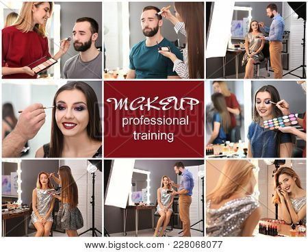 Collage with people at training for professional makeup artist