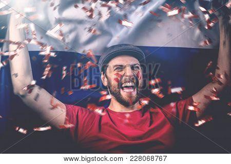 Russian fan celebrating