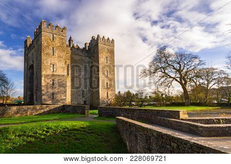 BUNRATTY, IRELAND - FEBRUARY 19, 2012: Architecture of the Bunratty castle in Co. Clare, Ireland. Bunratty castle is traditional Irish tourist attraction of Co. Clare