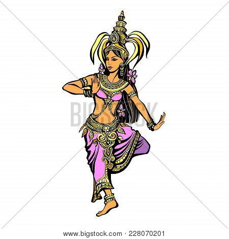 Color Illustration Of A Thai Dancer In Oriental Costume, The Silhouette Of A Beautiful Indian Woman
