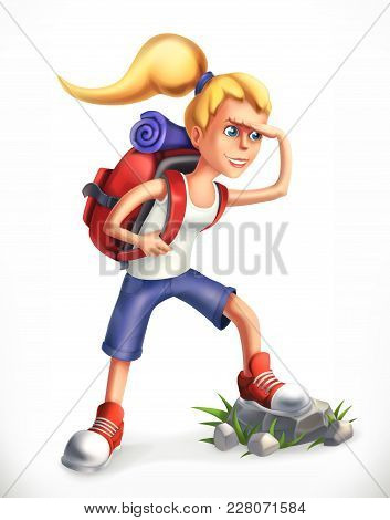 Backpacking Tourist. Girl With Backpack, 3d Vector Icon