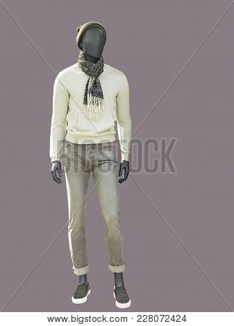 Full-length Male Mannequin Dressed In Warm Casual Clothes, Isolated. No Brand Names Or Copyright Obj