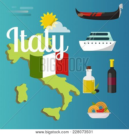 Italy Travel Map Vector Attraction Tourist Symbols Sightseeing World Italian Architecture Elements I