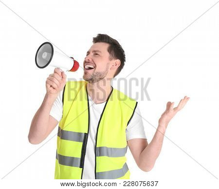 Worker with megaphone on white background