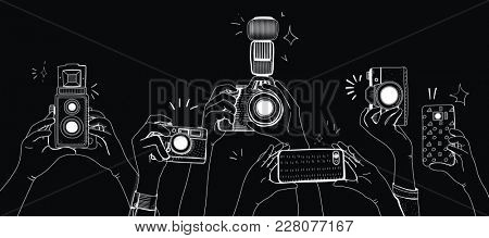 Illustration of people snap photo